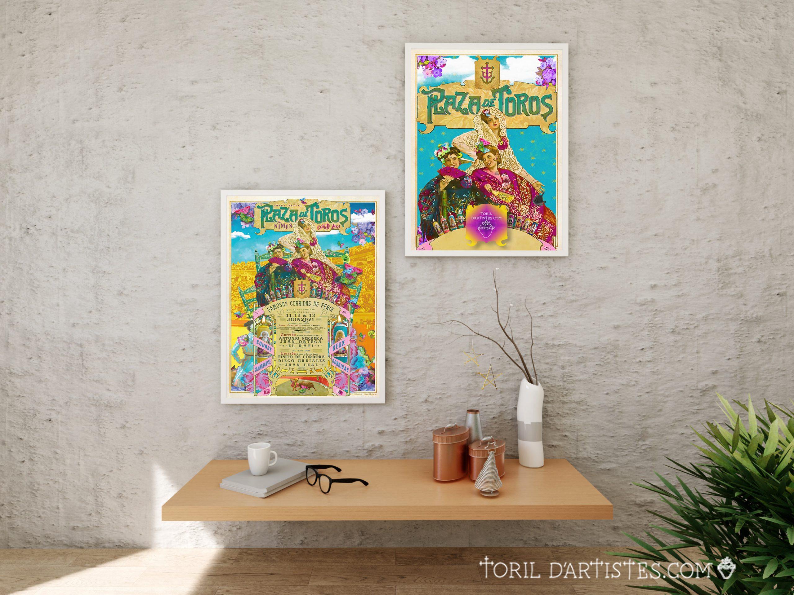 affiche de la feria de nimes 2021 avec le programme des corridas et des courses camarguaises