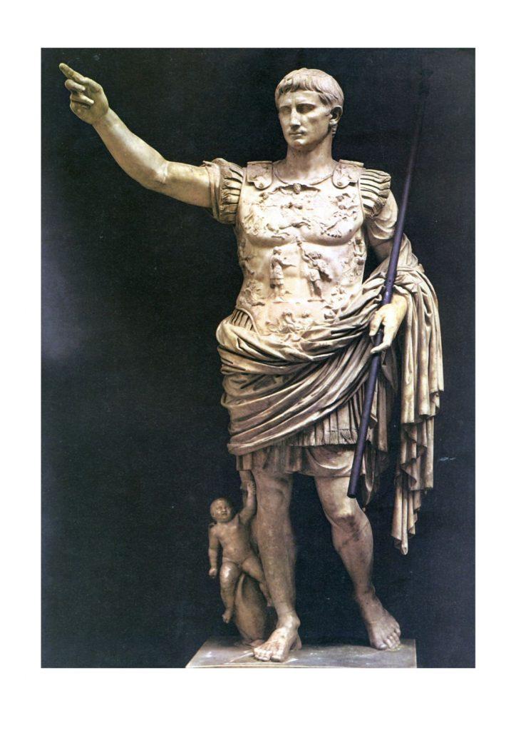 Statue en marbre blanc de l'empereur Auguste