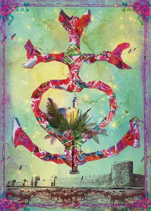 Poster de Croix Camarguaise avec le village fortifié d'Aigues Mortes, la tour Constance et les bious autour des remparts de la cité