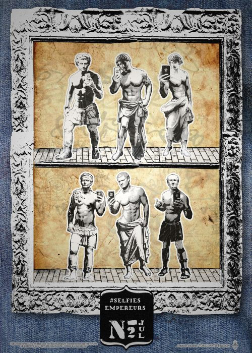 Poster romanité empereurs nimes streetart affiche toril d'artistes collages