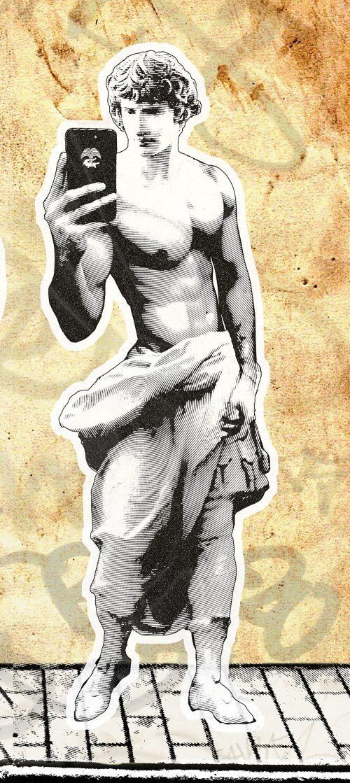 SelfieEmpereur - Le poster de l'intervention street Art - Collage d'Empeurs romains se prenant en photo dans leurs rues à Nîmes