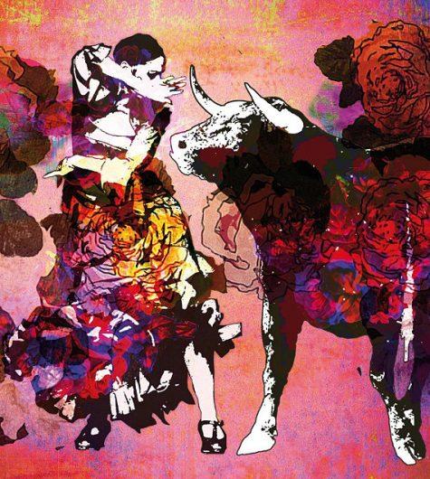 affiche romeria de mauguio 2017 avec unn toro et une flamenca