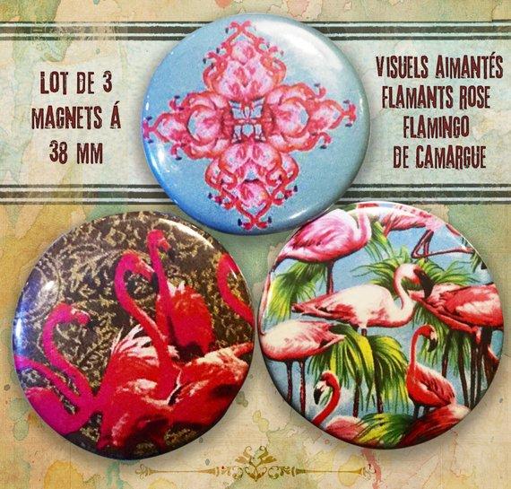 lot de 3 magnets flamants rose