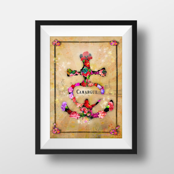 croix camargue oeillets fleurs